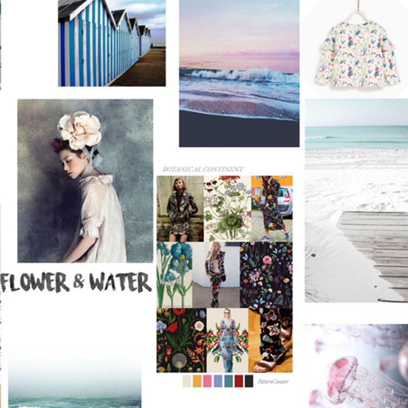 """Moodboard d'inspiration pour la création de la collection de vêtements enfants SS18 de Minabulle """"water for peonies"""""""