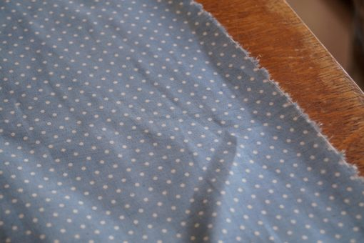 tissu Chambray bleu à pois