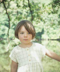 robe loose enfant Minabulle en jersey de coton bio écru à carreaux