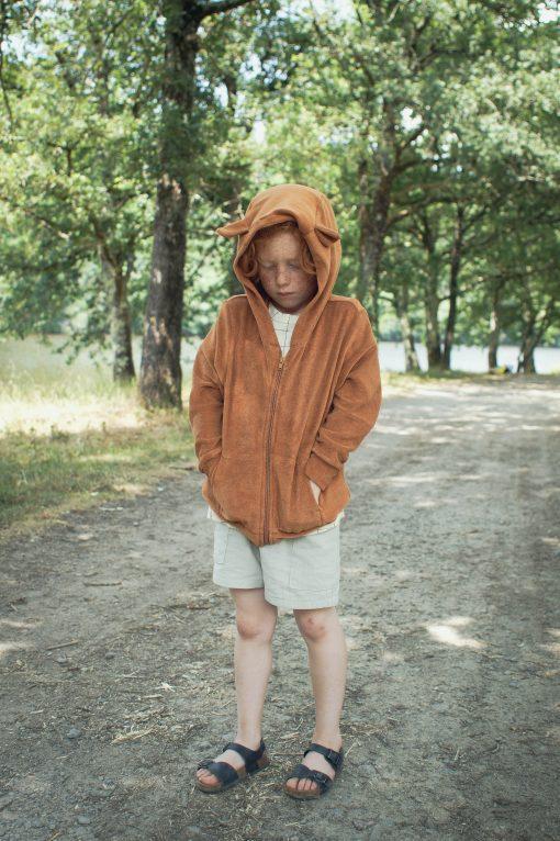 sweat zippé enfant Minabulle en éponge cannelle