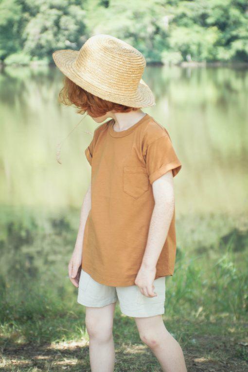 t-shirt enfant Minabulle en jersey de coton bio cannelle et short en crêpe de coton gris