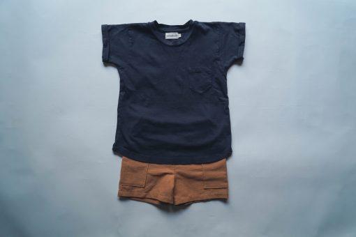 t-shirt enfant Minabulle en jersey de coton bio anthracite et short en crêpe de coton cannelle