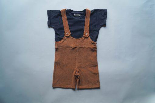 salopette short enfant Minabulle en éponge cannelle et t-shirt Minabulle en jersey de coton bio anthracite
