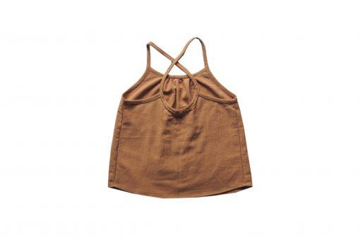 débardeur enfant Minabulle à fines bretelles croisées dans le dos, en crêpe de coton cannelle