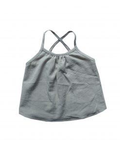 débardeur enfant Minabulle à fines bretelles croisées dans le dos, en crêpe de coton gris