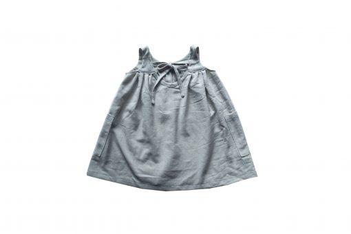 robe Minabulle dos-nu avec un lien à nouer dans le dos en crêpe de coton gris