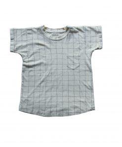 t-shirt Minabulle loose pour enfant, en jersey de coton bio écru à carreaux