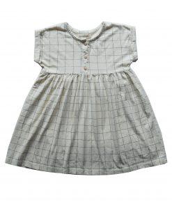 robe loose Minabulle, en jersey de coton bio écru à carreaux