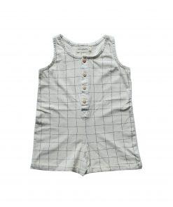 combishort Minabulle pour bébé en jersey de coton bio écru à carreaux