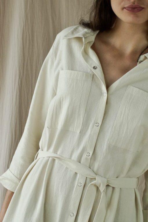 Robe-chemise en crêpe de coton écru, fabriquée en France