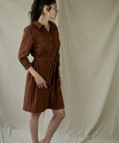 Robe-chemise en crêpe de coton sienne, fabriquée en France