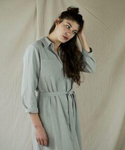 Robe-chemise en crêpe de coton gris, fabriquée en France