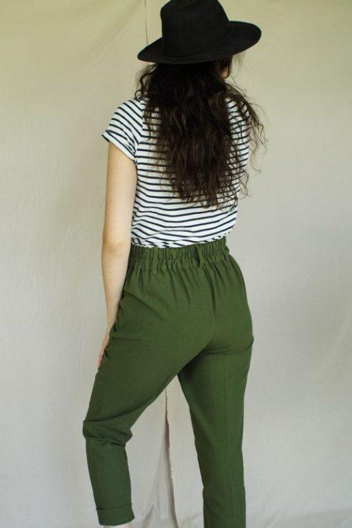 pantalon carotte pour femme, couleur kaki