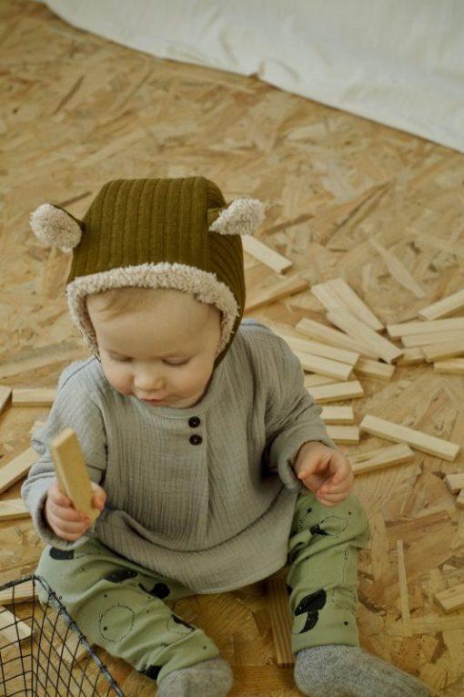 pantalon legging pour bébé imprimé lunes, bonnet à oreilles et blouse mixte en gaze bio