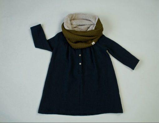 robe en double-gaze de coton biologique anthracite et snood