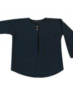 blouse mixte anthracite en double-gaze de coton biologique