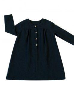 robe anthracite enfant en double-gaze de coton biologique