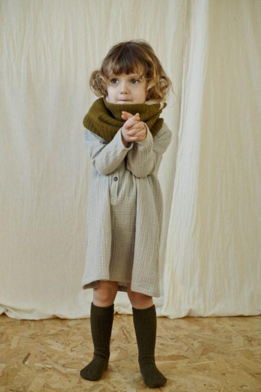 robe grise en double-gaze de coton biologique