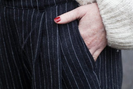 pantalon oscar noir à rayures