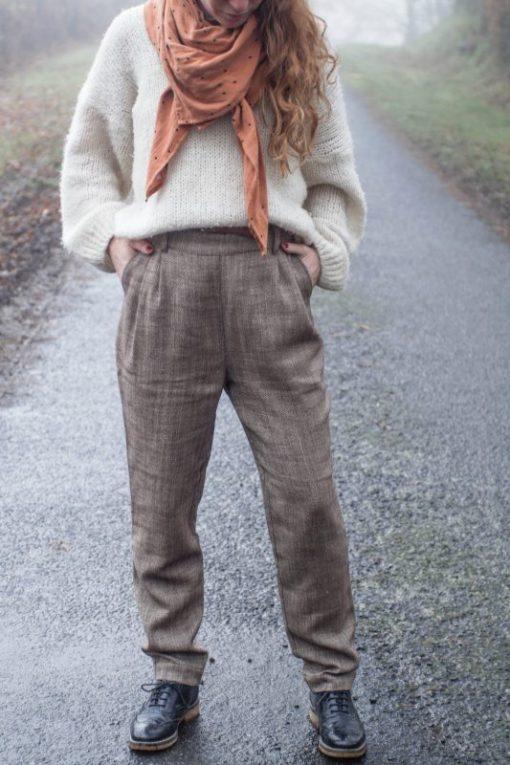 pantalon oscar brun à chevrons