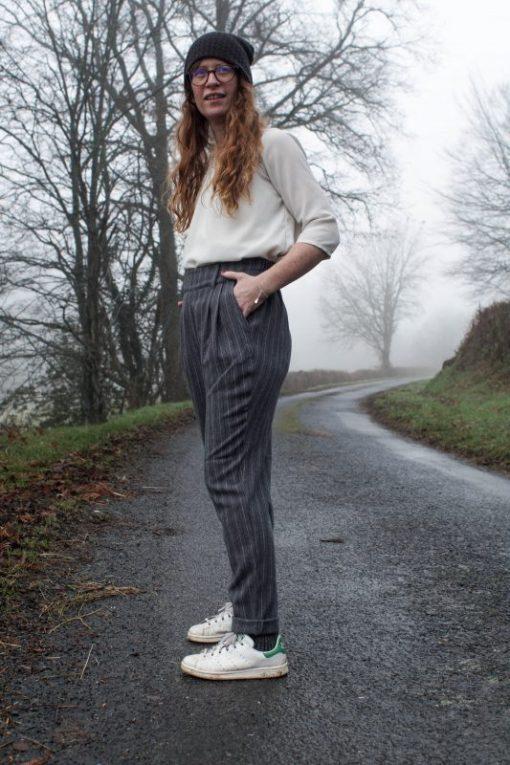 pantalon oscar gris à rayures