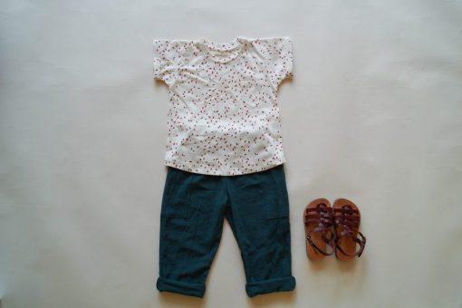 t-shirt Minabulle pépins coton bio et pantalon bleu pétrole