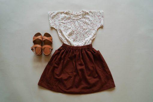 t-shirt Minabulle pépins coton bio et jupe sienne