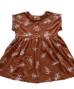 robe Minabulle enfant imprimé feuilles cannelle en coton biologique