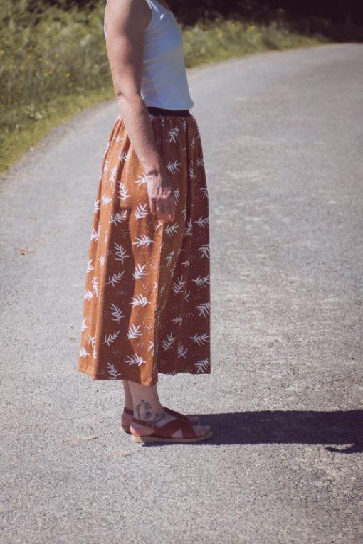 jupe femme en coton biologique cannelle imprimé feuilles