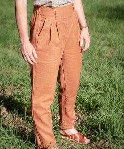 pantalon carotte cannelle