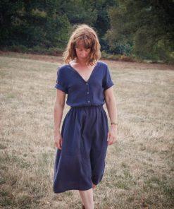 robe femme double-gaze anthracite Minabulle