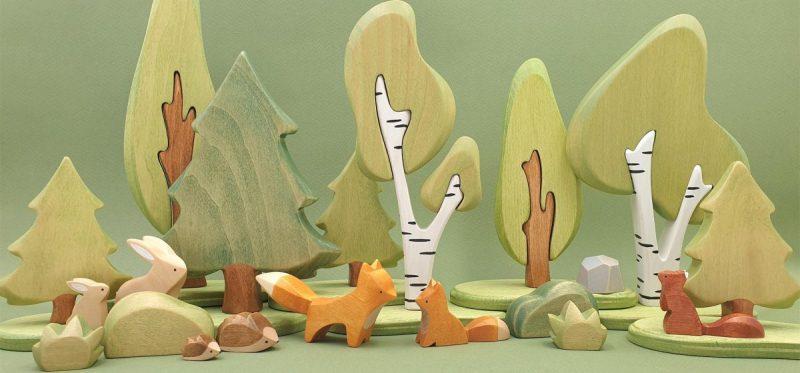 jouets en bois animaux de la foret