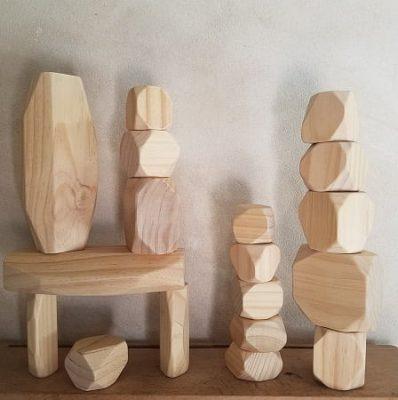jouets en bois construction rochers