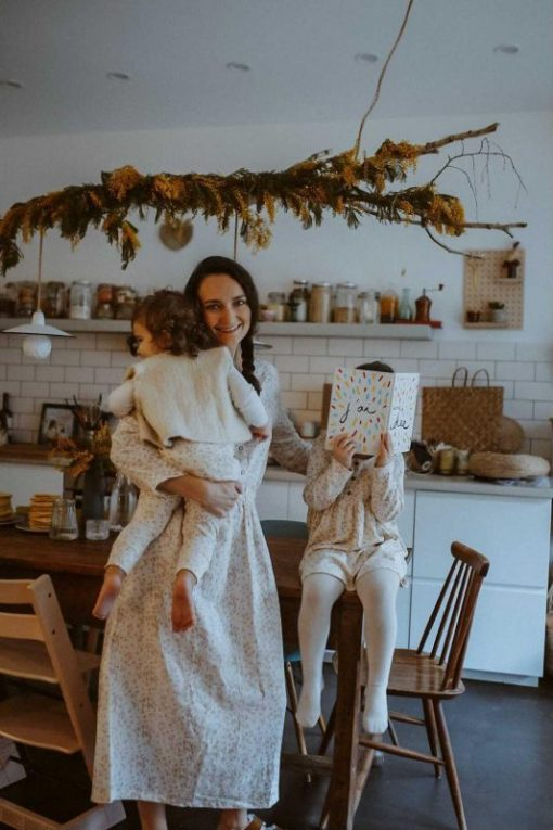 look mom+kid imprimé feuilles