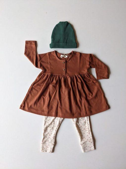 look fille legging imprimé feuilles robe sienne