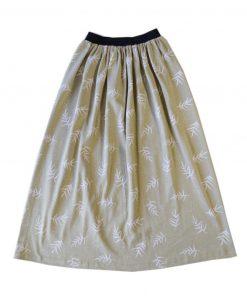 jupe longue femme en coton bio imprimé feuilles